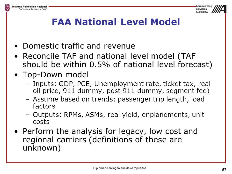 57 FAA National Level Model Domestic traffic and revenue Reconcile TAF and national level model (TAF should be within 0.5% of national level forecast)