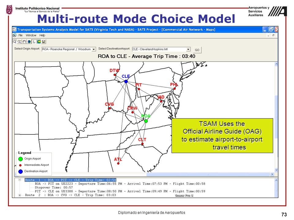73 Multi-route Mode Choice Model TSAM Uses the Official Airline Guide (OAG) to estimate airport-to-airport travel times Diplomado en Ingeniería de Aer