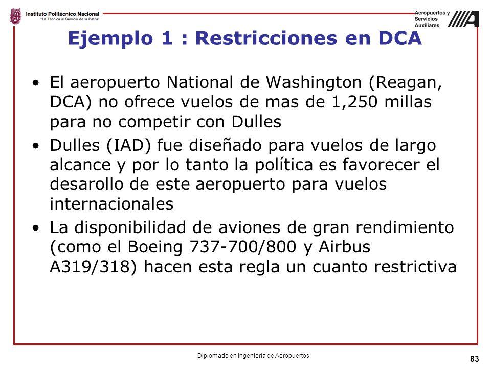 83 Ejemplo 1 : Restricciones en DCA El aeropuerto National de Washington (Reagan, DCA) no ofrece vuelos de mas de 1,250 millas para no competir con Dulles Dulles (IAD) fue diseñado para vuelos de largo alcance y por lo tanto la política es favorecer el desarollo de este aeropuerto para vuelos internacionales La disponibilidad de aviones de gran rendimiento (como el Boeing 737-700/800 y Airbus A319/318) hacen esta regla un cuanto restrictiva Diplomado en Ingeniería de Aeropuertos