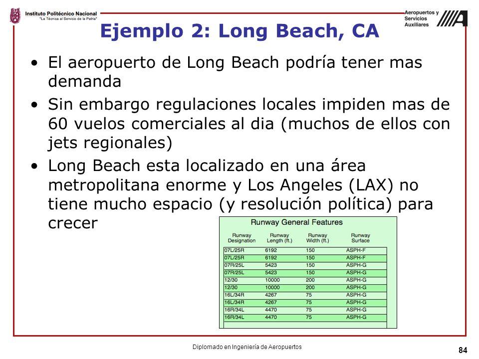 84 Ejemplo 2: Long Beach, CA El aeropuerto de Long Beach podría tener mas demanda Sin embargo regulaciones locales impiden mas de 60 vuelos comerciales al dia (muchos de ellos con jets regionales) Long Beach esta localizado en una área metropolitana enorme y Los Angeles (LAX) no tiene mucho espacio (y resolución política) para crecer Diplomado en Ingeniería de Aeropuertos