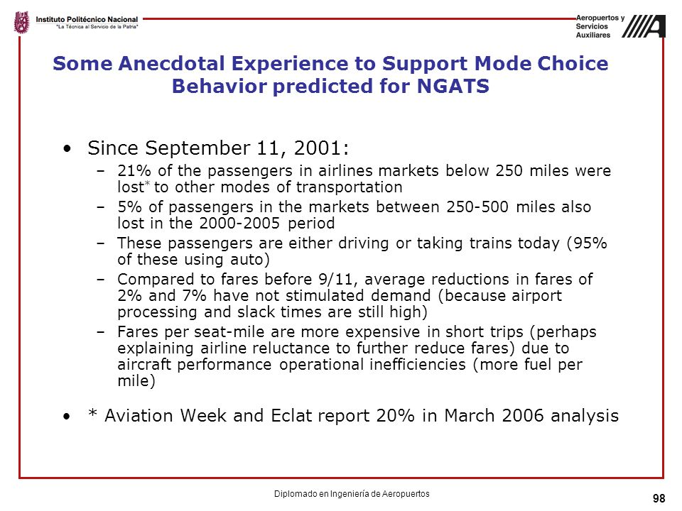 98 Some Anecdotal Experience to Support Mode Choice Behavior predicted for NGATS Since September 11, 2001: –21% of the passengers in airlines markets