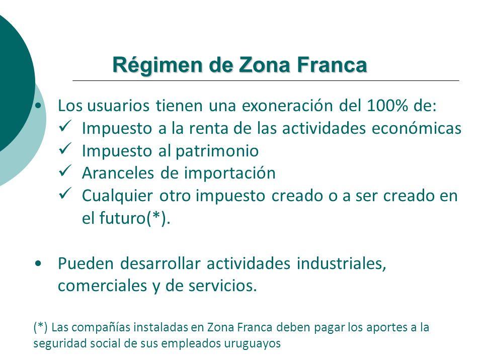 Régimen de Zona Franca Los usuarios tienen una exoneración del 100% de: Impuesto a la renta de las actividades económicas Impuesto al patrimonio Aranc