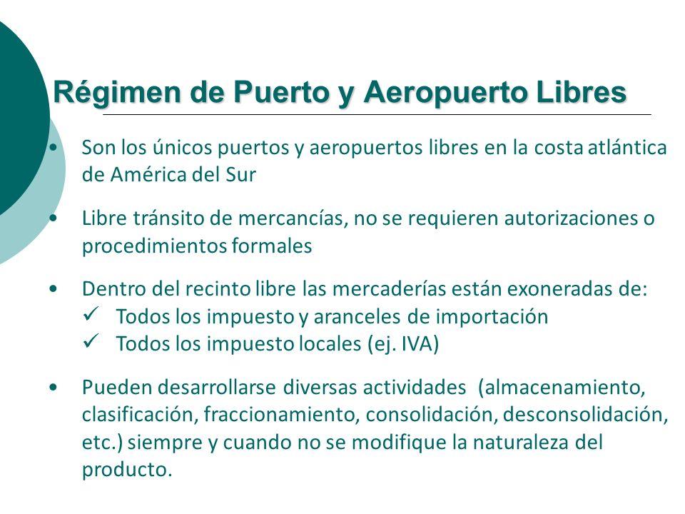 Régimen de Puerto y Aeropuerto Libres Son los únicos puertos y aeropuertos libres en la costa atlántica de América del Sur Libre tránsito de mercancía