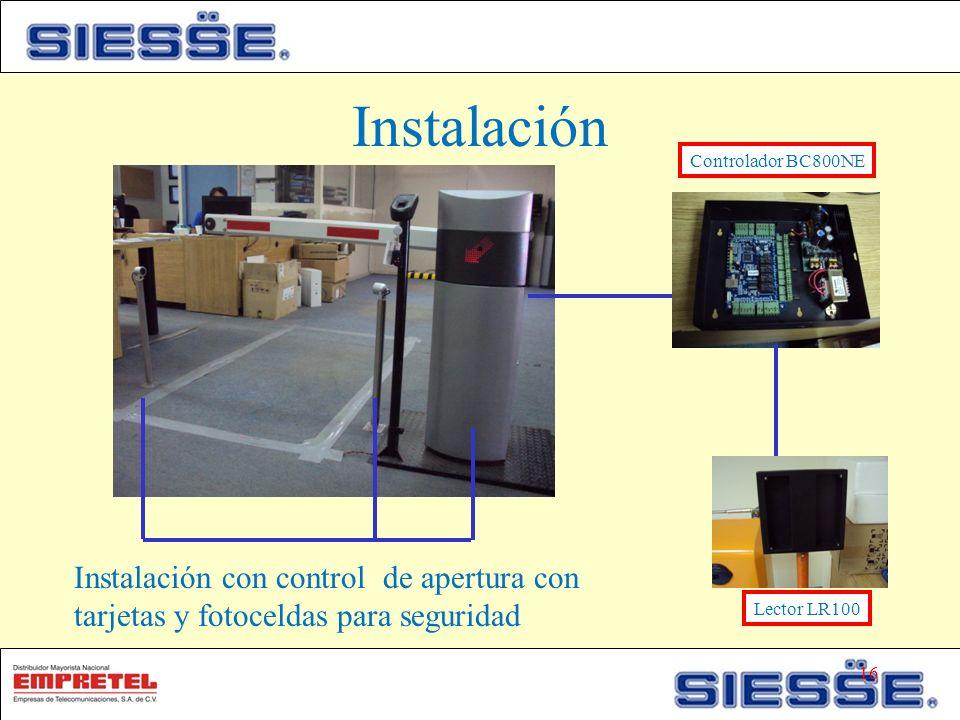 Instalación Instalación con control de apertura con tarjetas y fotoceldas para seguridad Controlador BC800NE Lector LR100 16