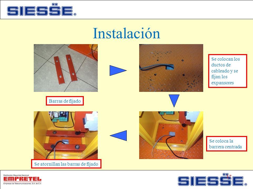 Instalación Barras de fijado Se colocan los ductos de cableado y se fijan los expansores Se coloca la barrera centrada Se atornillan las barras de fijado 17