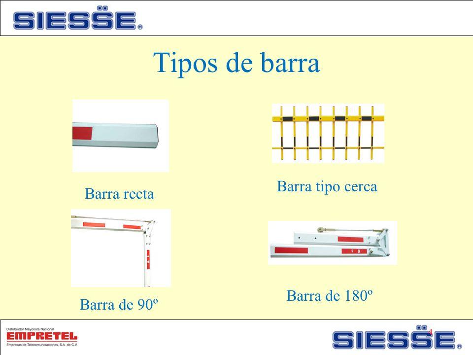 Tipos de barra Barra recta Barra tipo cerca Barra de 90º Barra de 180º 4