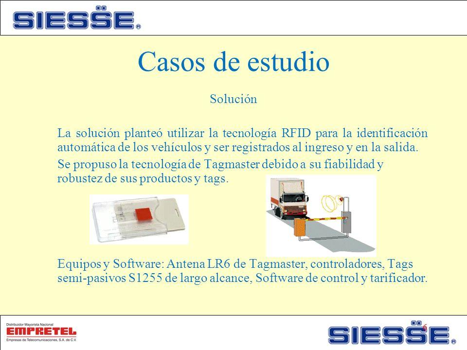 Casos de estudio Solución La solución planteó utilizar la tecnología RFID para la identificación automática de los vehículos y ser registrados al ingreso y en la salida.