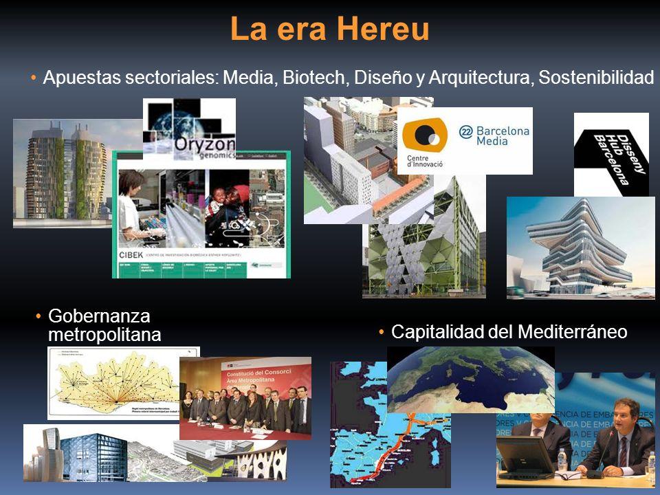 La era Hereu Apuestas sectoriales: Media, Biotech, Diseño y Arquitectura, Sostenibilidad Capitalidad del Mediterráneo Gobernanza metropolitana