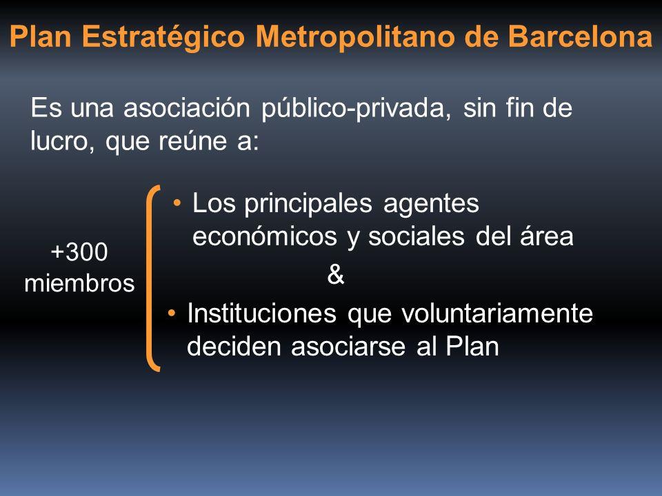 Plan Estratégico Metropolitano de Barcelona Es una asociación público-privada, sin fin de lucro, que reúne a: Los principales agentes económicos y soc