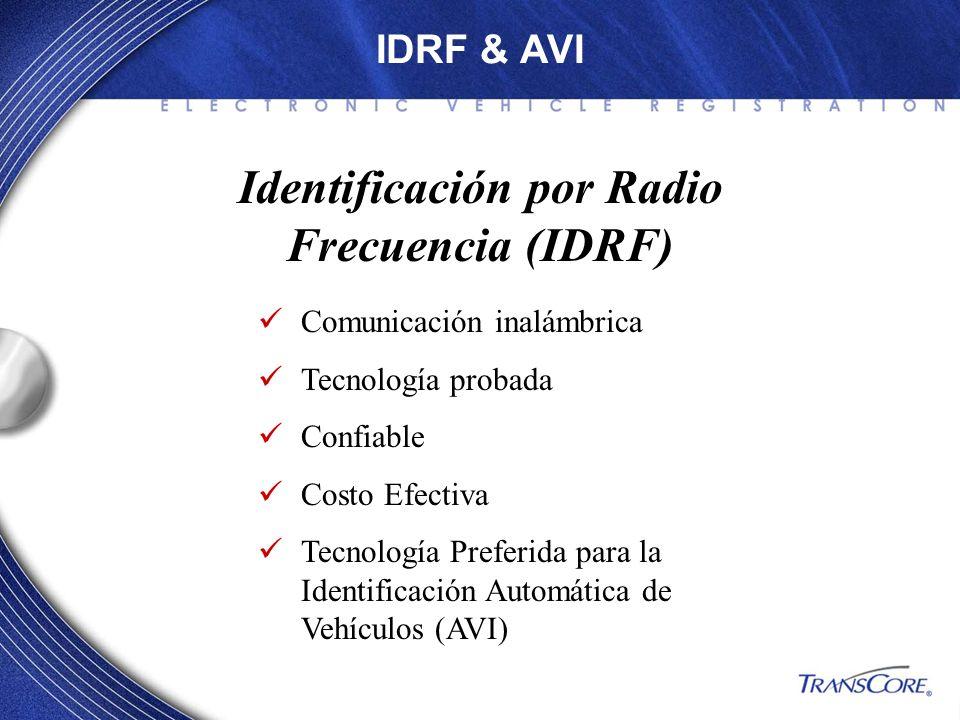 IDRF & AVI Identificación por Radio Frecuencia (IDRF) Comunicación inalámbrica Tecnología probada Confiable Costo Efectiva Tecnología Preferida para l