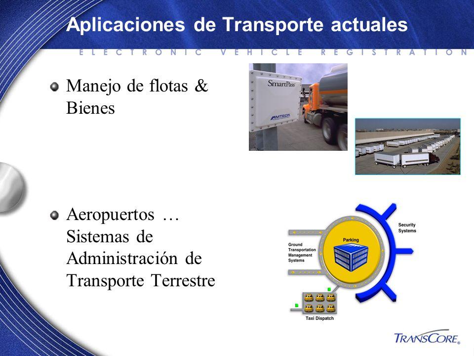 Manejo de flotas & Bienes Aeropuertos … Sistemas de Administración de Transporte Terrestre Aplicaciones de Transporte actuales