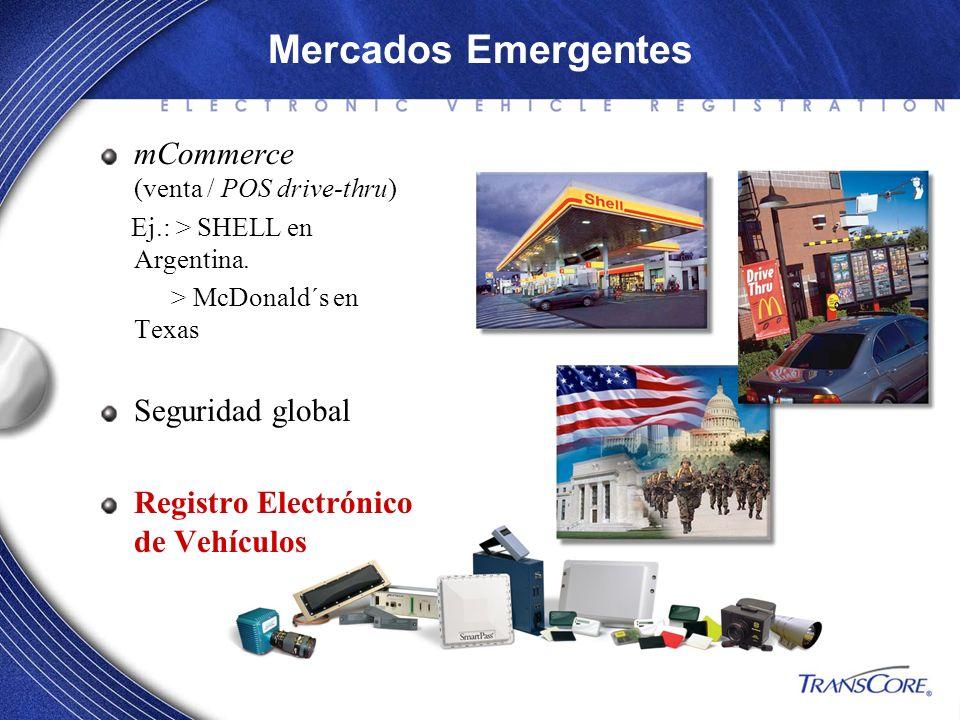 Mercados Emergentes mCommerce (venta / POS drive-thru) Ej.: > SHELL en Argentina. > McDonald´s en Texas Seguridad global Registro Electrónico de Vehíc