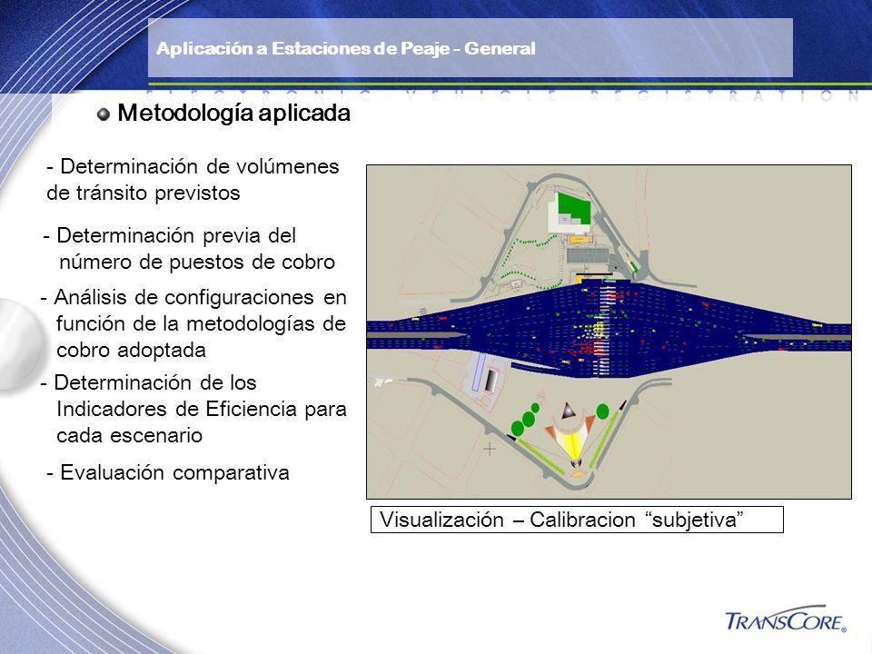 Metodología aplicada Visualización – Calibracion subjetiva - Determinación de volúmenes de tránsito previstos - Determinación previa del número de pue