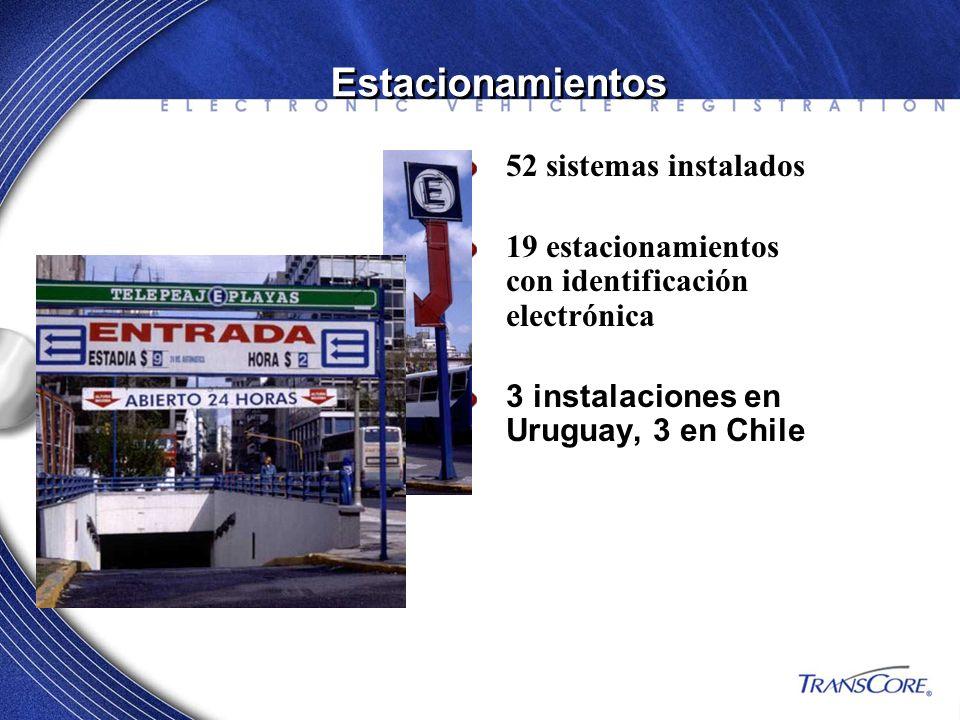 52 sistemas instalados 19 estacionamientos con identificación electrónica 3 instalaciones en Uruguay, 3 en Chile Estacionamientos