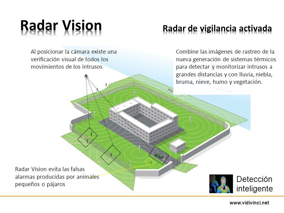 www.vidivinci.net Combine las imágenes de rastreo de la nueva generación de sistemas térmicos para detectar y monitorizar intrusos a grandes distancias y con lluvia, niebla, bruma, nieve, humo y vegetación.