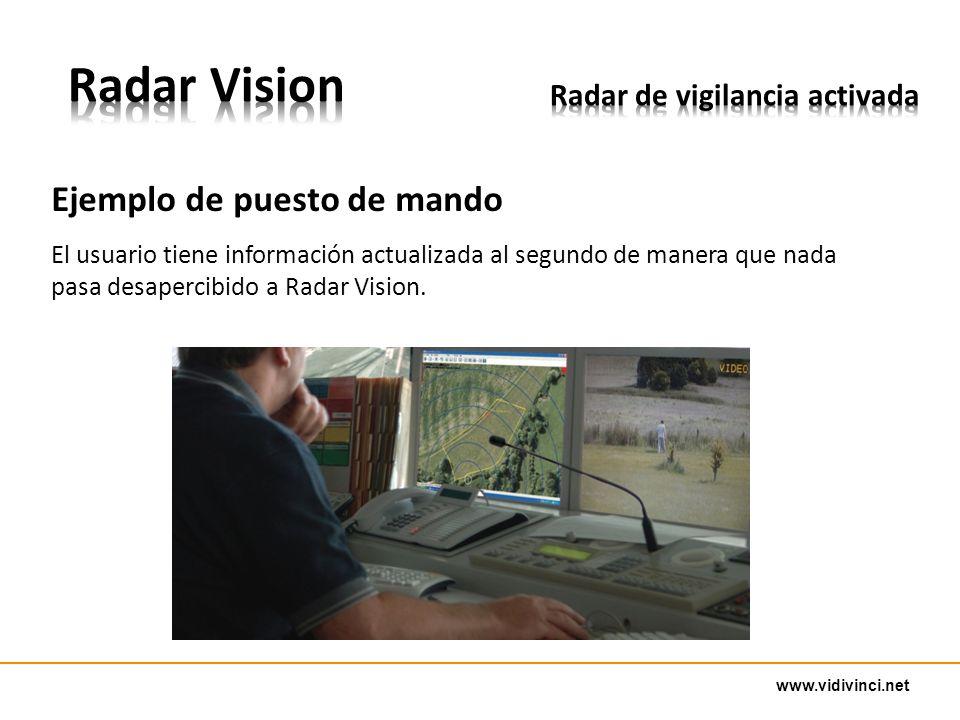 www.vidivinci.net El usuario tiene información actualizada al segundo de manera que nada pasa desapercibido a Radar Vision. Ejemplo de puesto de mando
