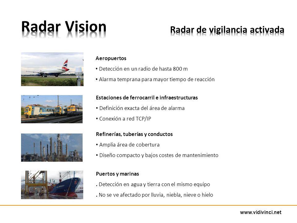 www.vidivinci.net Estaciones de ferrocarril e infraestructuras Definición exacta del área de alarma Conexión a red TCP/IP Refinerías, tuberías y conductos Amplia área de cobertura Diseño compacto y bajos costes de mantenimiento Puertos y marinas.