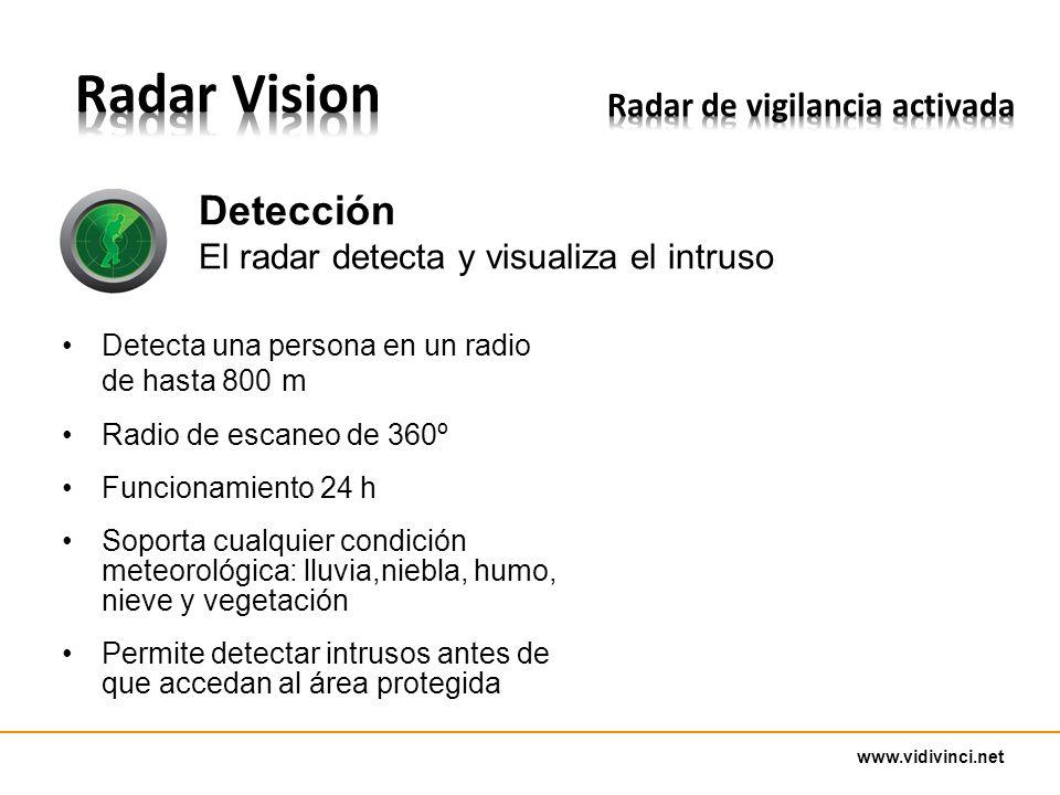 www.vidivinci.net Detecta una persona en un radio de hasta 800 m Radio de escaneo de 360º Funcionamiento 24 h Soporta cualquier condición meteorológica: lluvia,niebla, humo, nieve y vegetación Permite detectar intrusos antes de que accedan al área protegida Detección El radar detecta y visualiza el intruso