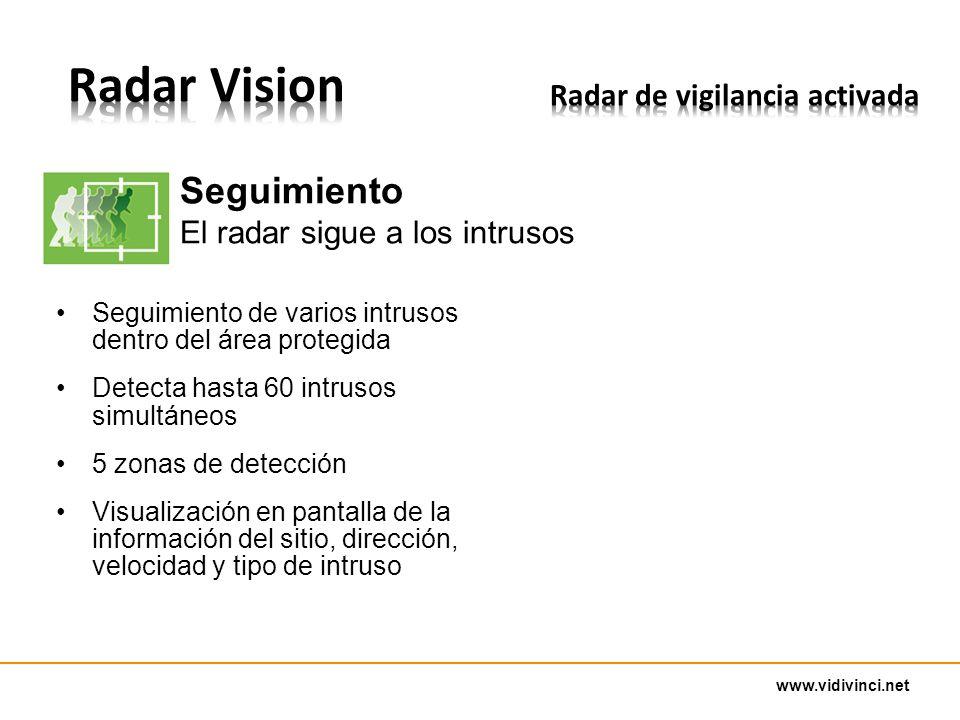 www.vidivinci.net Seguimiento de varios intrusos dentro del área protegida Detecta hasta 60 intrusos simultáneos 5 zonas de detección Visualización en