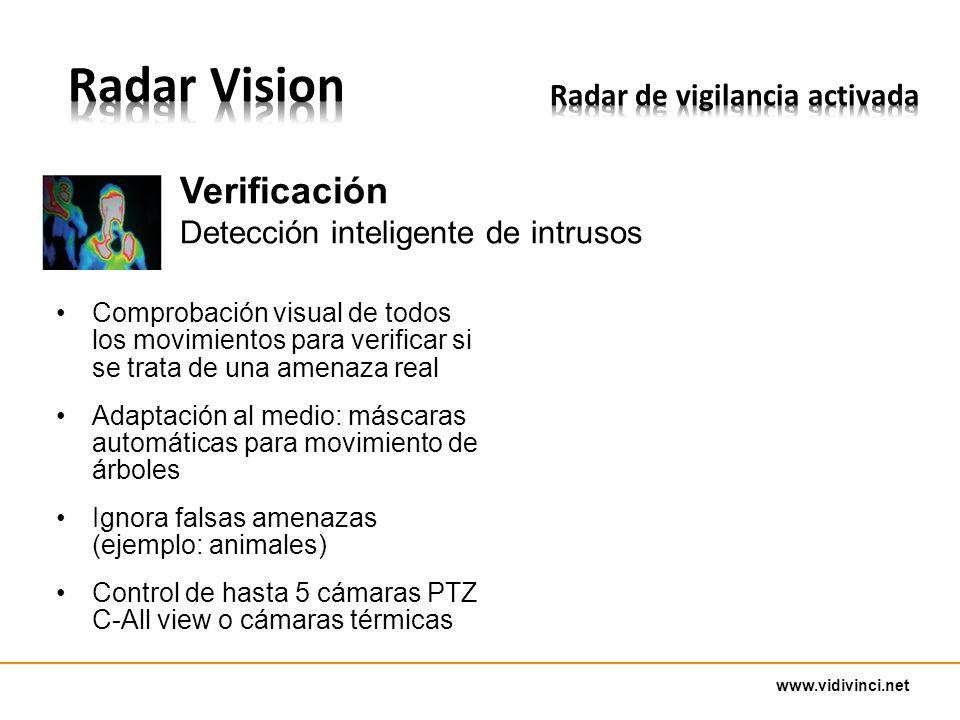 www.vidivinci.net Comprobación visual de todos los movimientos para verificar si se trata de una amenaza real Adaptación al medio: máscaras automáticas para movimiento de árboles Ignora falsas amenazas (ejemplo: animales) Control de hasta 5 cámaras PTZ C-All view o cámaras térmicas Verificación Detección inteligente de intrusos