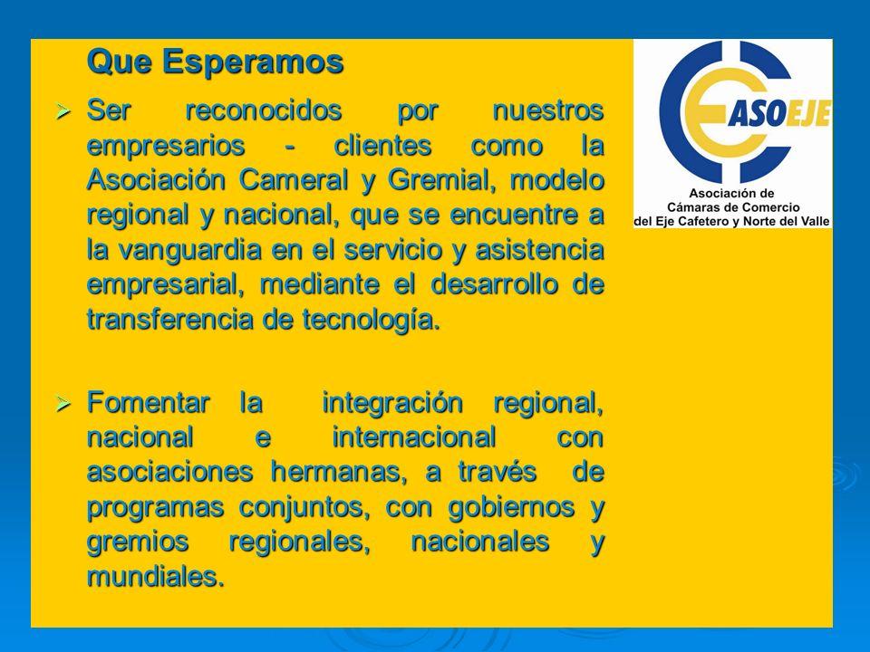 Ser reconocidos por nuestros empresarios - clientes como la Asociación Cameral y Gremial, modelo regional y nacional, que se encuentre a la vanguardia