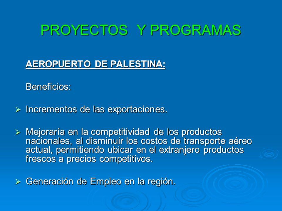 PROYECTOS Y PROGRAMAS AEROPUERTO DE PALESTINA: Beneficios: Incrementos de las exportaciones. Incrementos de las exportaciones. Mejoraría en la competi