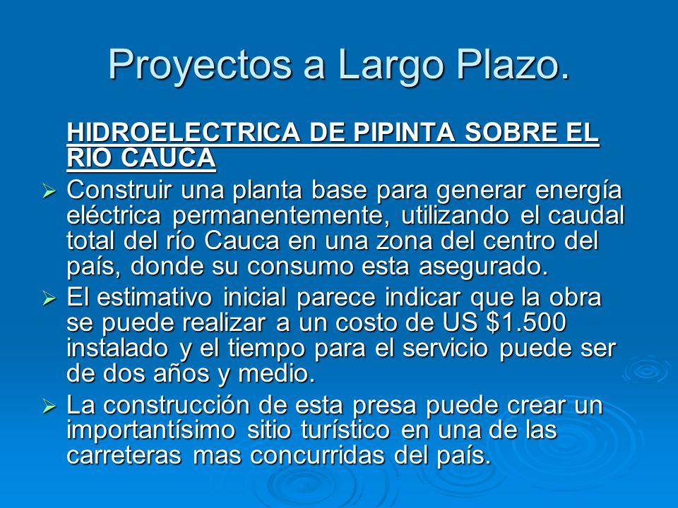 Proyectos a Largo Plazo. HIDROELECTRICA DE PIPINTA SOBRE EL RIO CAUCA Construir una planta base para generar energía eléctrica permanentemente, utiliz