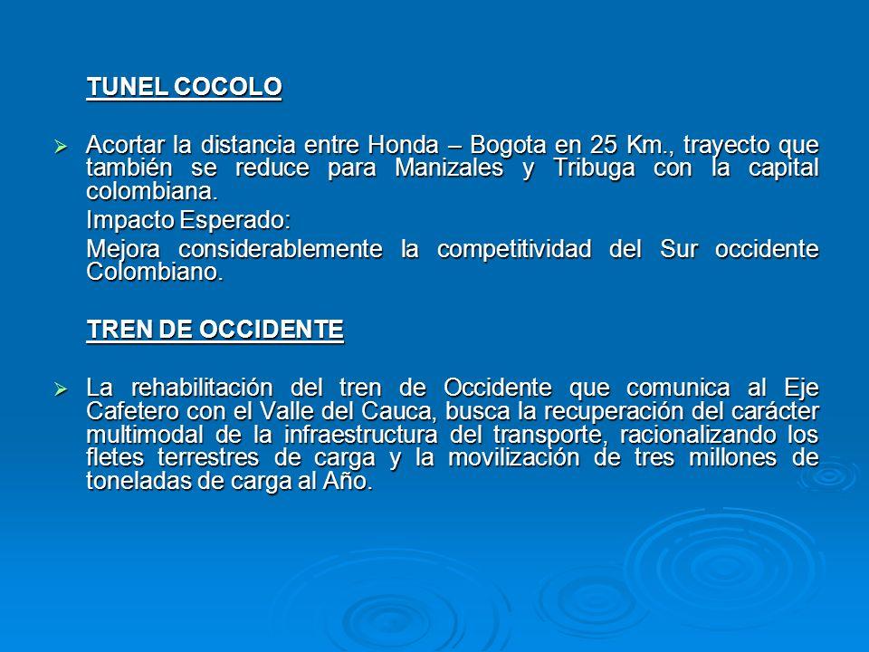 TUNEL COCOLO Acortar la distancia entre Honda – Bogota en 25 Km., trayecto que también se reduce para Manizales y Tribuga con la capital colombiana. A