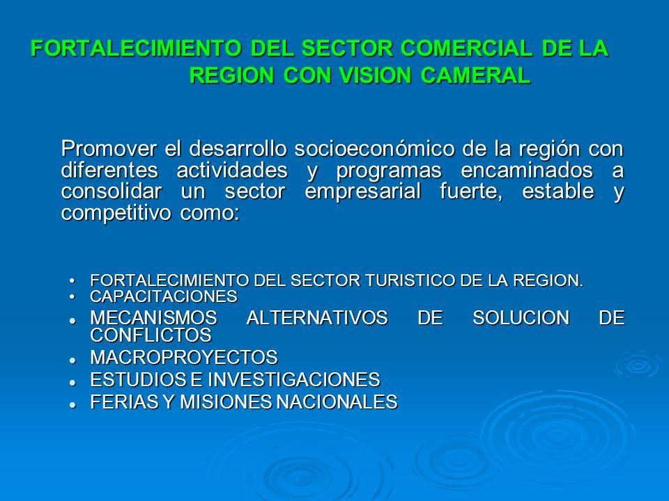FORTALECIMIENTO DEL SECTOR COMERCIAL DE LA REGION CON VISION CAMERAL Promover el desarrollo socioeconómico de la región con diferentes actividades y p