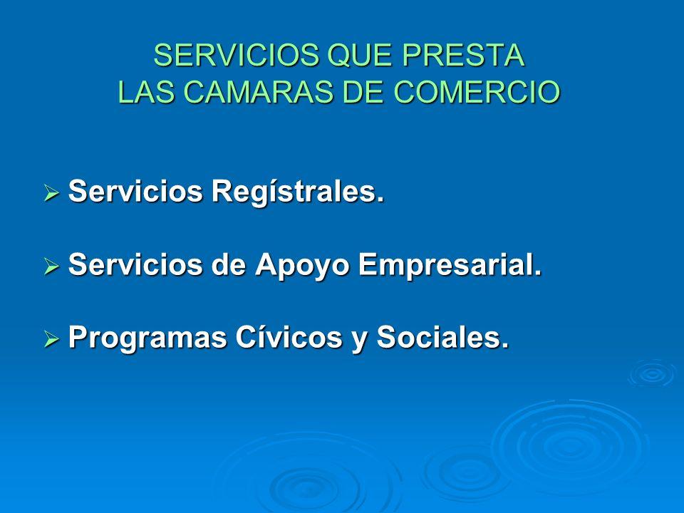 SERVICIOS QUE PRESTA LAS CAMARAS DE COMERCIO Servicios Regístrales. Servicios Regístrales. Servicios de Apoyo Empresarial. Servicios de Apoyo Empresar