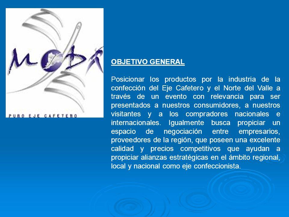 OBJETIVO GENERAL Posicionar los productos por la industria de la confección del Eje Cafetero y el Norte del Valle a través de un evento con relevancia