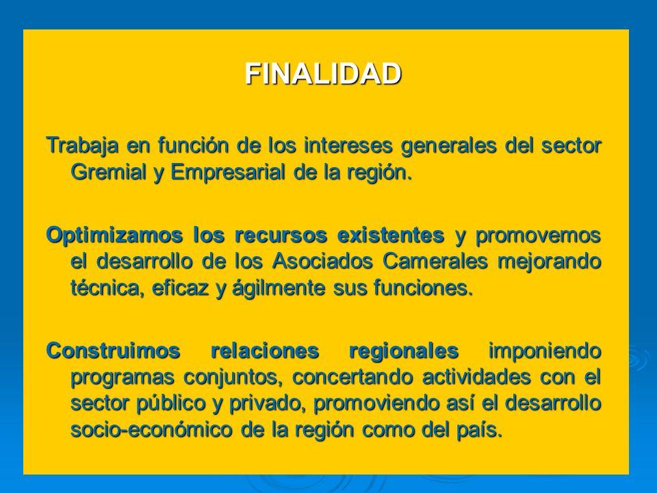 FINALIDAD Trabaja en función de los intereses generales del sector Gremial y Empresarial de la región. Optimizamos los recursos existentes y promovemo