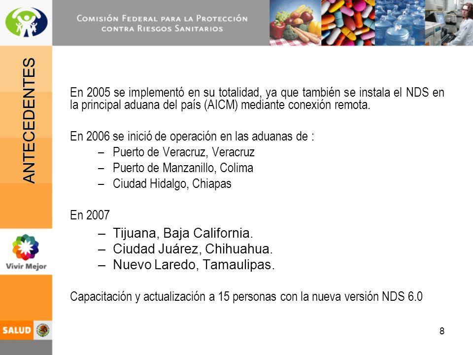 9 Agilizar los procesos de: –Emisión de permisos de importación / exportación –Captura de Avisos de Importación Exportación de Sustancias del Cuadro II 1988 Monitoreo de los establecimientos.