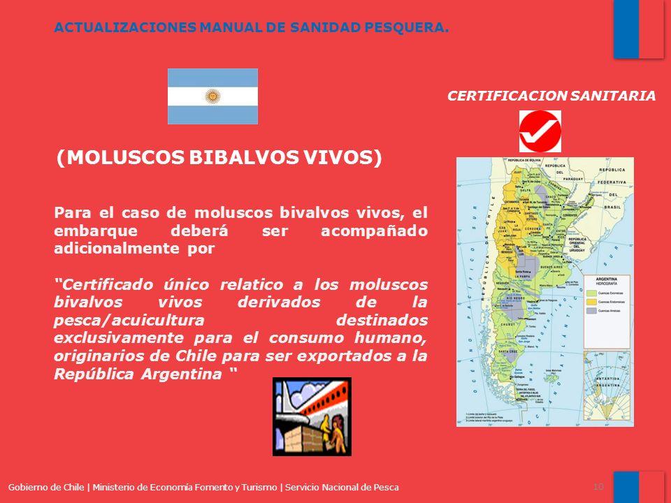 Gobierno de Chile | Ministerio de Economía Fomento y Turismo | Servicio Nacional de Pesca 10 ACTUALIZACIONES MANUAL DE SANIDAD PESQUERA. (MOLUSCOS BIB