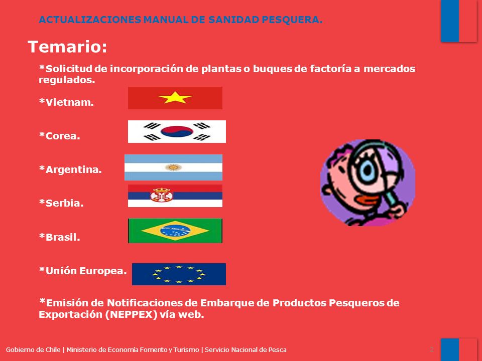 Gobierno de Chile | Ministerio de Economía Fomento y Turismo | Servicio Nacional de Pesca 2 ACTUALIZACIONES MANUAL DE SANIDAD PESQUERA.