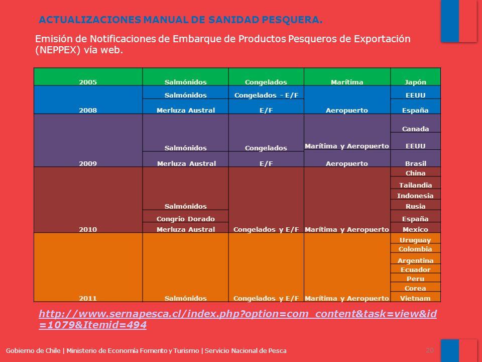 Gobierno de Chile | Ministerio de Economía Fomento y Turismo | Servicio Nacional de Pesca 20 Emisión de Notificaciones de Embarque de Productos Pesqueros de Exportación (NEPPEX) vía web.