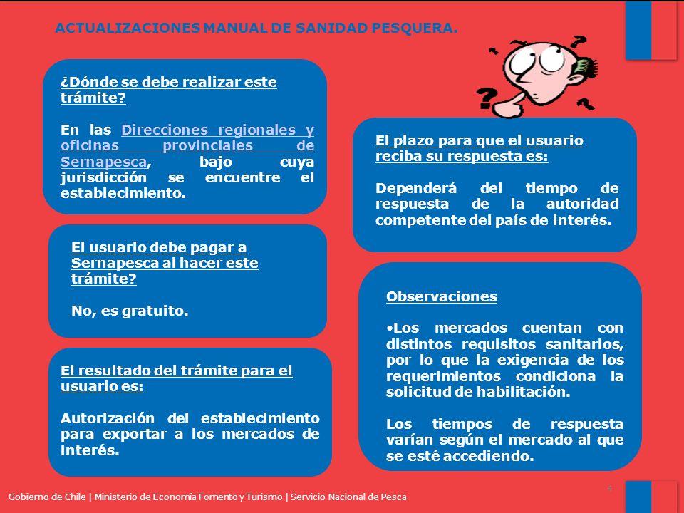 Gobierno de Chile | Ministerio de Economía Fomento y Turismo | Servicio Nacional de Pesca 4 ACTUALIZACIONES MANUAL DE SANIDAD PESQUERA.