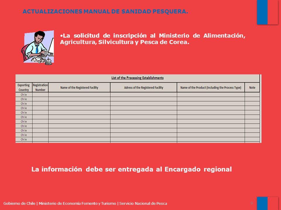 Gobierno de Chile | Ministerio de Economía Fomento y Turismo | Servicio Nacional de Pesca 9 ACTUALIZACIONES MANUAL DE SANIDAD PESQUERA. La solicitud d