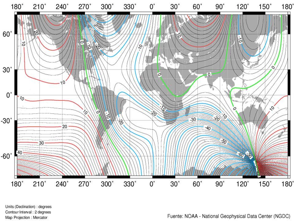 La declinación magnética en un punto de la tierra es el ángulo comprendido entre el norte magnético local y el norte verdadero (o norte geográfico).