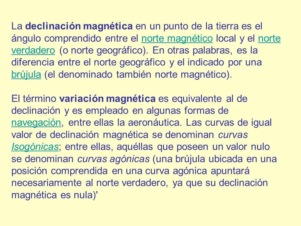 La declinación magnética en un punto de la tierra es el ángulo comprendido entre el norte magnético local y el norte verdadero (o norte geográfico). E