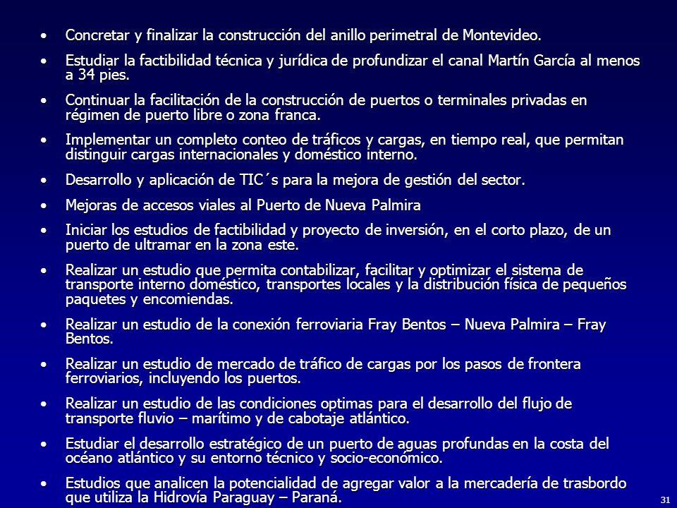 31 Concretar y finalizar la construcción del anillo perimetral de Montevideo.Concretar y finalizar la construcción del anillo perimetral de Montevideo.