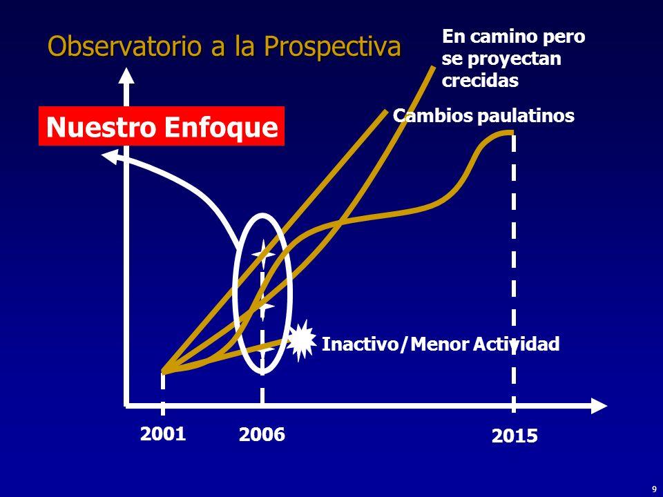 9 Observatorio a la Prospectiva 2001 2015 En camino pero se proyectan crecidas Inactivo/Menor Actividad Cambios paulatinos Nuestro Enfoque 2006