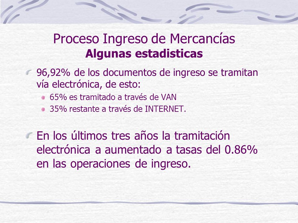 Proceso Ingreso de Mercancías Algunas estadisticas 96,92% de los documentos de ingreso se tramitan vía electrónica, de esto: 65% es tramitado a través