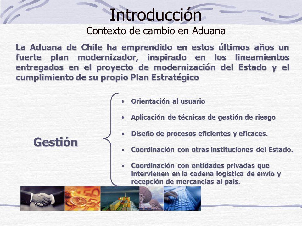 Introducción Contexto de cambio en Aduana La Aduana de Chile ha emprendido en estos últimos años un fuerte plan modernizador, inspirado en los lineami