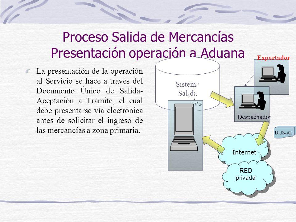 Proceso Salida de Mercancías Presentación operación a Aduana La presentación de la operación al Servicio se hace a través del Documento Único de Salid