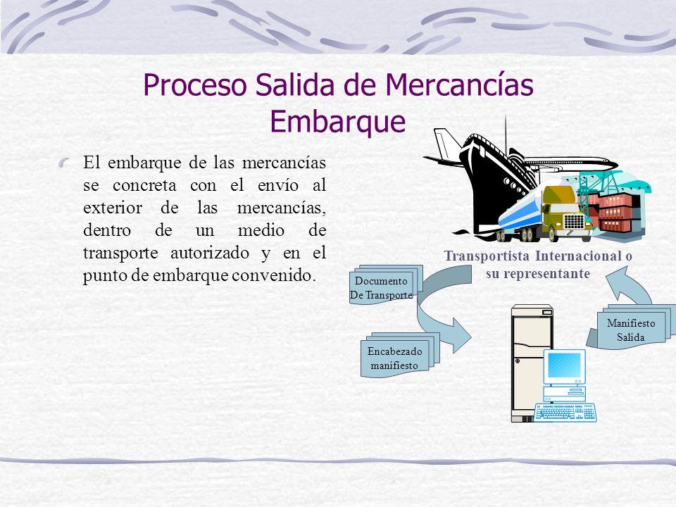 Proceso Salida de Mercancías Embarque El embarque de las mercancías se concreta con el envío al exterior de las mercancías, dentro de un medio de tran
