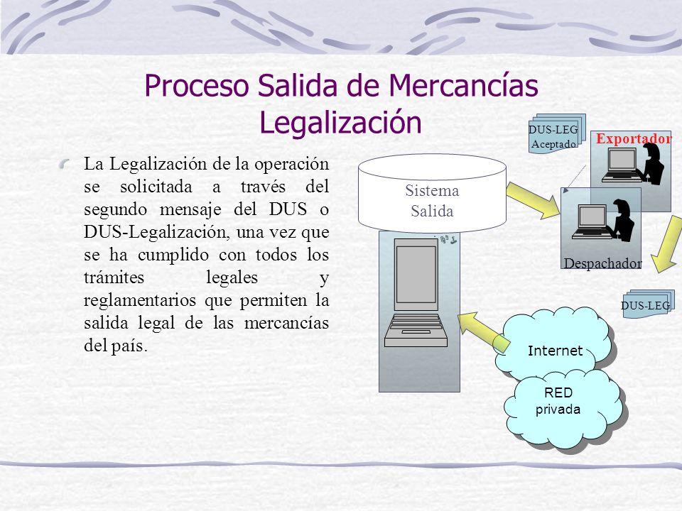 Proceso Salida de Mercancías Legalización La Legalización de la operación se solicitada a través del segundo mensaje del DUS o DUS-Legalización, una v