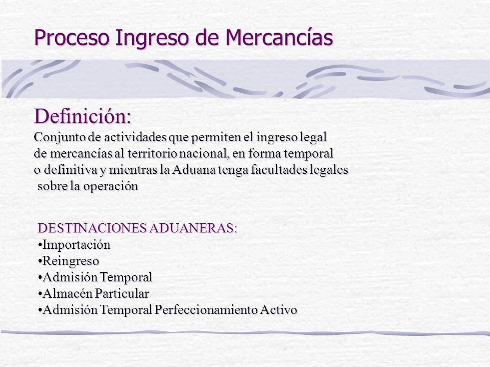 Proceso Ingreso de Mercancías Definición: Conjunto de actividades que permiten el ingreso legal de mercancías al territorio nacional, en forma tempora