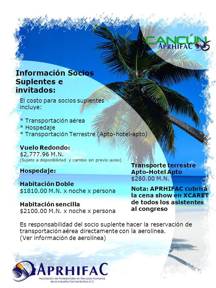 El costo para socios suplentes incluye: * Transportación aérea * Hospedaje * Transportación Terrestre (Apto-hotel-apto) Vuelo Redondo: $2,777.96 M.N.