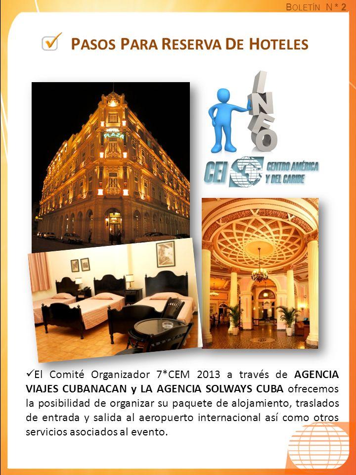 B OLETÍN N * 2 P ASOS P ARA R ESERVA D E H OTELES El Comité Organizador 7*CEM 2013 a través de AGENCIA VIAJES CUBANACAN y LA AGENCIA SOLWAYS CUBA ofre